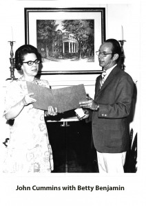 Betty Benjamin & John Cummins with caption