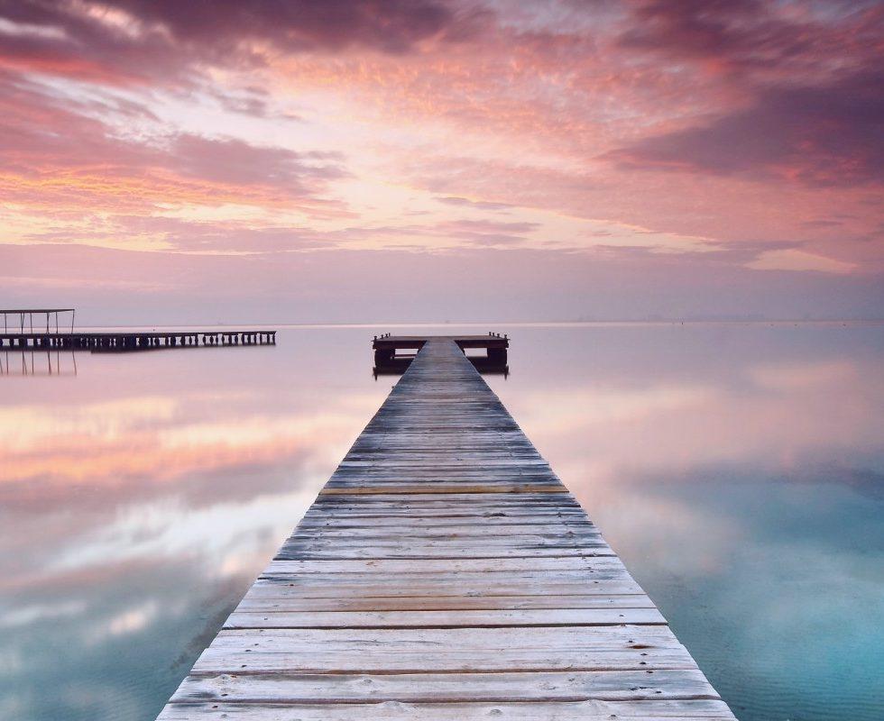 Horizon Sunset Pier Ocean Port Scaffolding Photograpy Sky Clouds Pink Blue Wallpaper Download